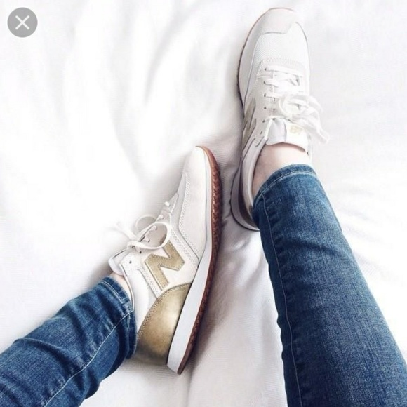 j crew gold new balance shoes